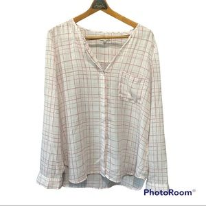 Calvin Klein jeans light weight pink and cream plaid long sleeves blouse medium